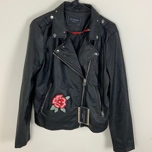 Ci Sono Roses Embroidered Black Moto Jacket SZ L